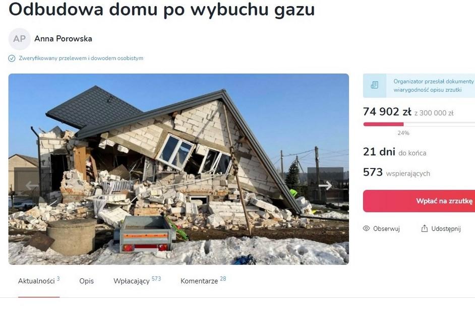 Gmina Sokoły: Wybuch gazu zniszczył dom. Rodzina potrzebuje pomocy