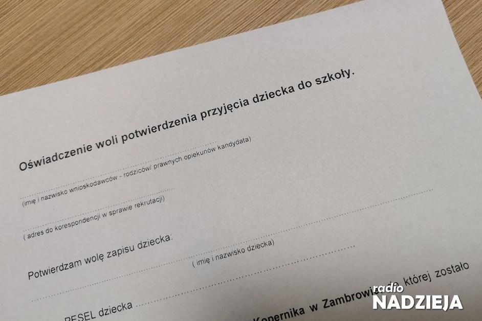 Zambrów: Oświadczenie woli przy zapisie dziecka do szkoły