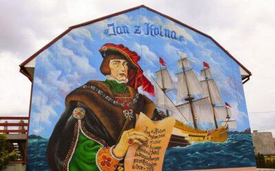 Kolno: Jan z Kolna zerka z muralu