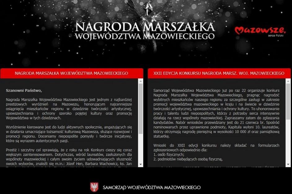 Mazowsze: Można już zgłaszać kandydatów do Nagrody Marszałka Województwa